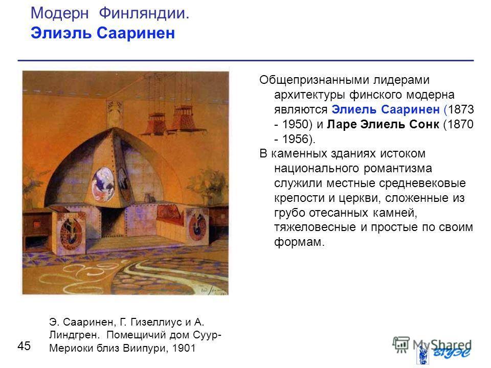 Общепризнанными лидерами архитектуры финского модерна являются Элиель Сааринен (1873 - 1950) и Ларе Элиель Сонк (1870 - 1956). В каменных зданиях истоком национального романтизма служили местные средневековые крепости и церкви, сложенные из грубо от