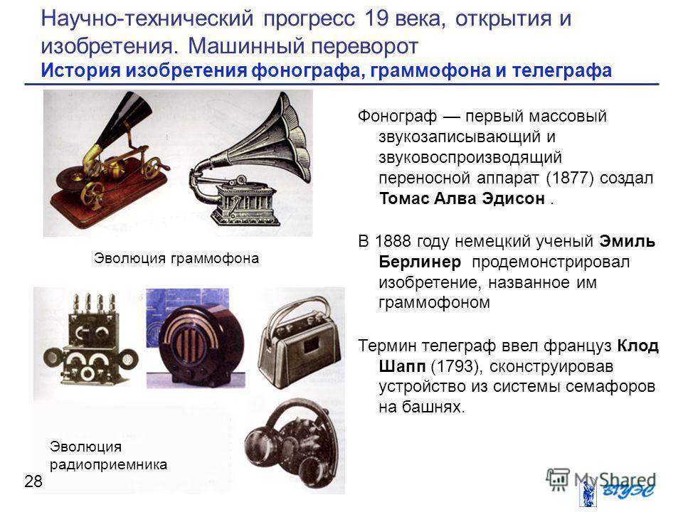 Фонограф первый массовый звукозаписывающий и звуковоспроизводящий переносной аппарат (1877) создал Томас Алва Эдисон. В 1888 году немецкий ученый Эмиль Берлинер продемонстрировал изобретение, названное им граммофоном Термин телеграф ввел француз Клод