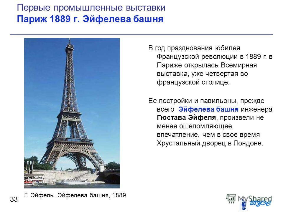 Рисунок В год празднования юбилея Французской революции в 1889 г. в Париже открылась Всемирная выставка, уже четвертая во французской столице. Ее постройки и павильоны, прежде всего Эйфелева башня инженера Гюстава Эйфеля, произвели не менее ошеломляю