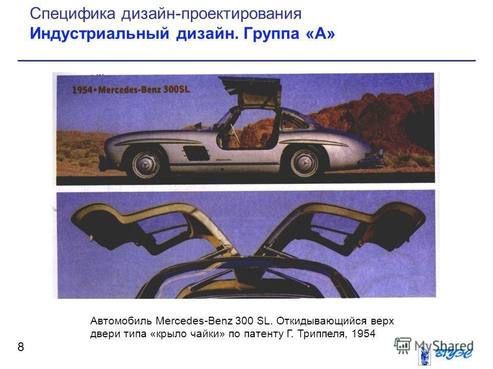 8 Специфика дизайн-проектирования Индустриальный дизайн. Группа «А» Автомобиль Mercedes-Benz 300 SL. Откидывающийся верх двери типа «крыло чайки» по патенту Г. Триппеля, 1954