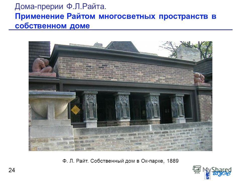 24 Дома-прерии Ф.Л.Райта. Применение Райтом многосветных пространств в собственном доме Ф. Л. Райт. Собственный дом в Ок-парке, 1889