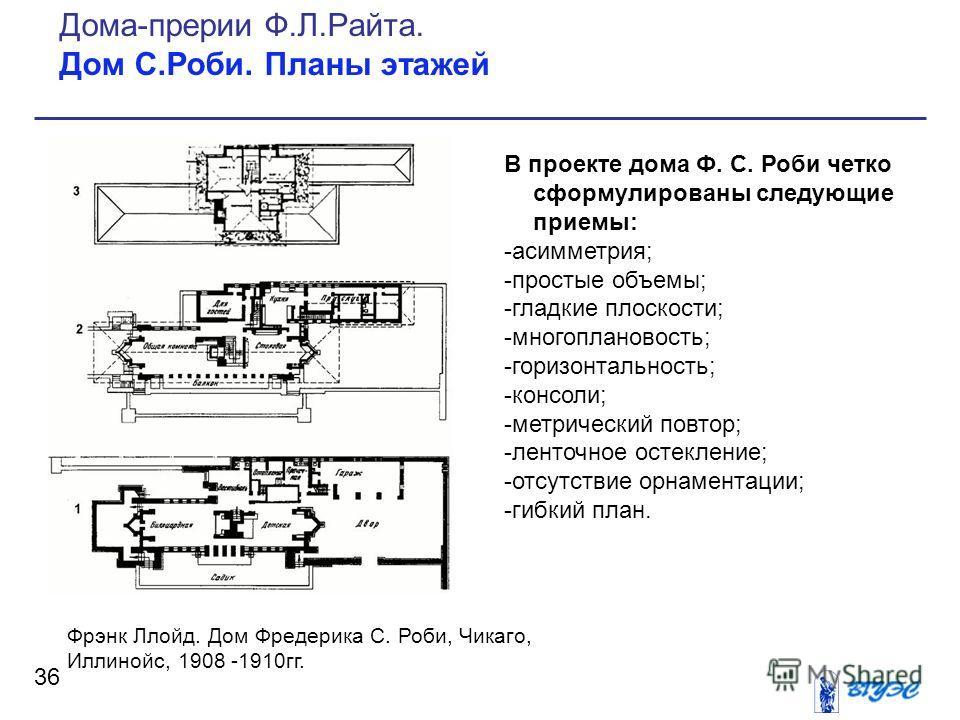 В проекте дома Ф. С. Роби четко сформулированы следующие приемы: -асимметрия; -простые объемы; -гладкие плоскости; -многоплановость; -горизонтальность; -консоли; -метрический повтор; -ленточное остекление; -отсутствие орнаментации; -гибкий план. 36 Д