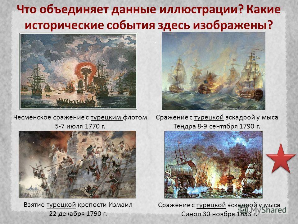Что объединяет данные иллюстрации? Какие исторические события здесь изображены? Чесменское сражение с турецким флотом 5-7 июля 1770 г. Сражение с турецкой эскадрой у мыса Тендра 8-9 сентября 1790 г. Взятие турецкой крепости Измаил 22 декабря 1790 г.