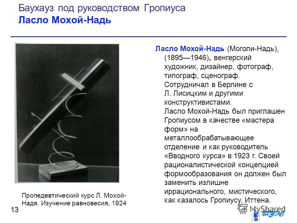 Ласло Мохой-Надь (Моголи-Надь), (18951946), венгерский художник, дизайнер, фотограф, типограф, сценограф. Сотрудничал в Берлине с Л. Лисицким и другими конструктивистами. Ласло Мохой-Надь был приглашен Гропиусом в качестве «мастера форм» на металлооб