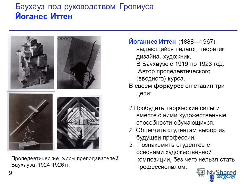 Йоганнес Иттен (18881967), выдающийся педагог, теоретик дизайна, художник. В Баухаузе с 1919 по 1923 год. Автор пропедевтического (вводного) курса. В своем форкурсе он ставил три цели: 1.Пробудить творческие силы и вместе с ними художественные способ