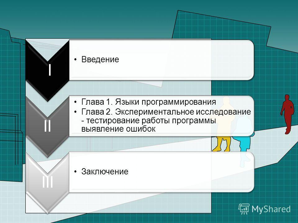 I Введение II Глава 1. Языки программирования Глава 2. Экспериментальное исследование - тестирование работы программы выявление ошибок III Заключение