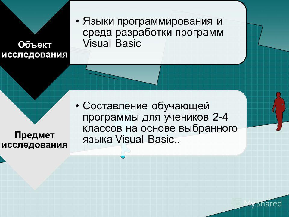 Объект исследования Языки программирования и среда разработки программ Visual Basic Предмет исследования Составление обучающей программы для учеников 2-4 классов на основе выбранного языка Visual Basic..