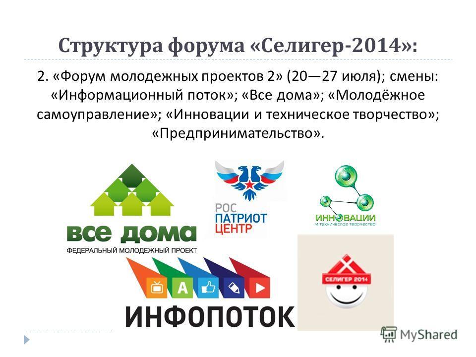 Структура форума « Селигер -2014»: 2. « Форум молодежных проектов 2» (2027 июля ); смены : « Информационный поток »; « Все дома »; « Молодёжное самоуправление »; « Инновации и техническое творчество »; « Предпринимательство ».