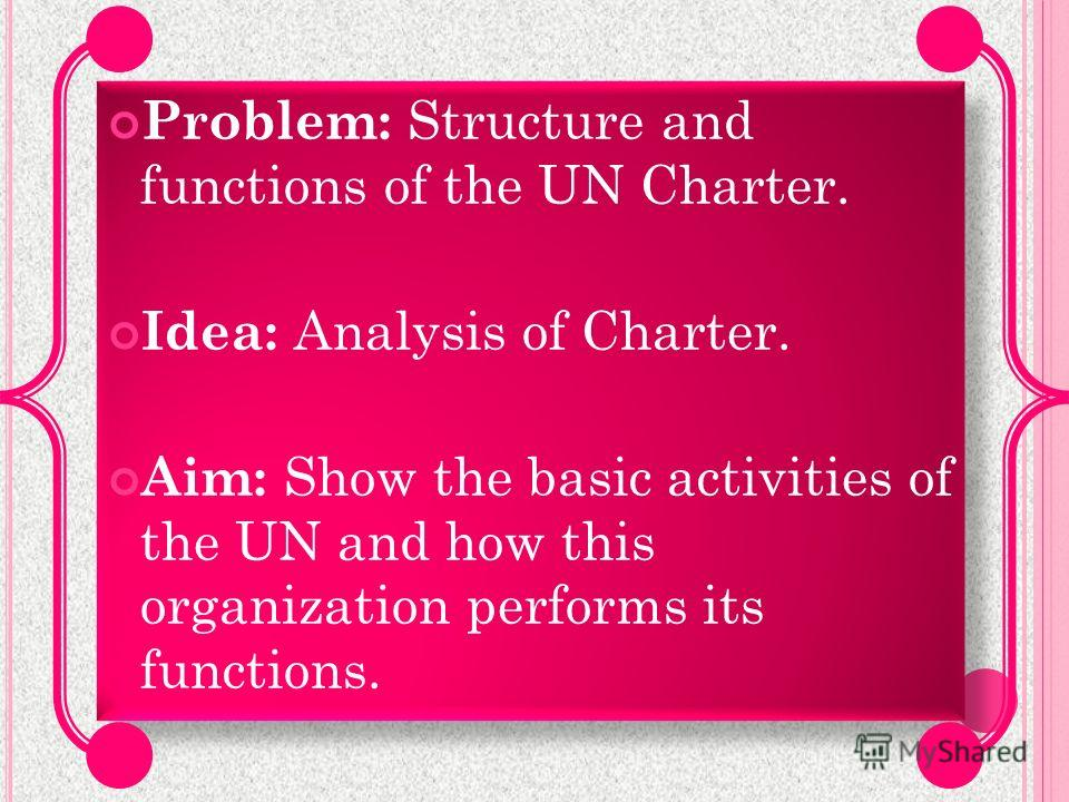 Problem: Structure and functions of the UN Charter. Idea: Analysis of Charter. Aim: Show the basic activities of the UN and how this organization performs its functions. Problem: Structure and functions of the UN Charter. Idea: Analysis of Charter. A