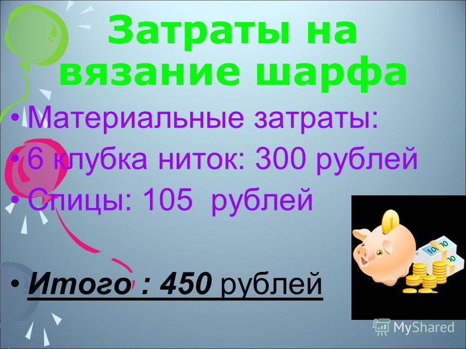 Затраты на вязание шарфа Материальные затраты: 6 клубка ниток: 300 рублей Спицы: 105 рублей Итого : 450 рублей