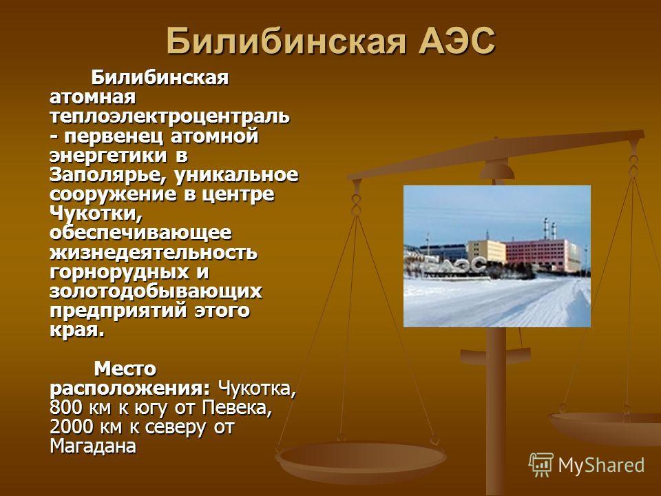 Билибинская АЭС Билибинская атомная теплоэлектроцентраль - первенец атомной энергетики в Заполярье, уникальное сооружение в центре Чукотки, обеспечивающее жизнедеятельность горнорудных и золотодобывающих предприятий этого края. Место расположения: Чу