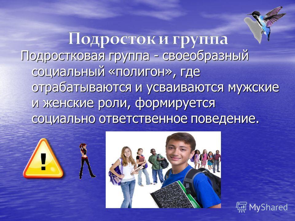 Подростковая группа - своеобразный социальный «полигон», где отрабатываются и усваиваются мужские и женские роли, формируется социально ответственное поведение.