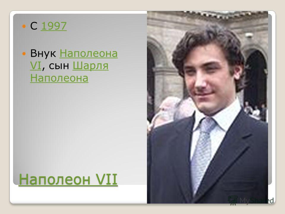 Наполеон VII Наполеон VII C 19971997 Внук Наполеона VI, сын Шарля НаполеонаНаполеона VIШарля Наполеона