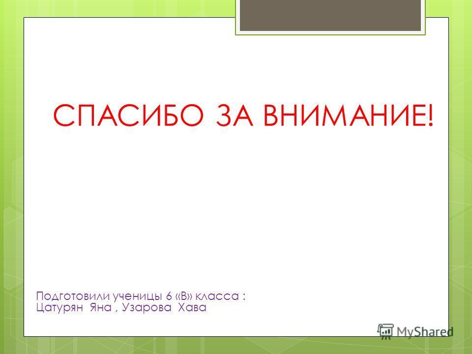 СПАСИБО ЗА ВНИМАНИЕ! Подготовили ученицы 6 «В» класса : Цатурян Яна, Узарова Хава