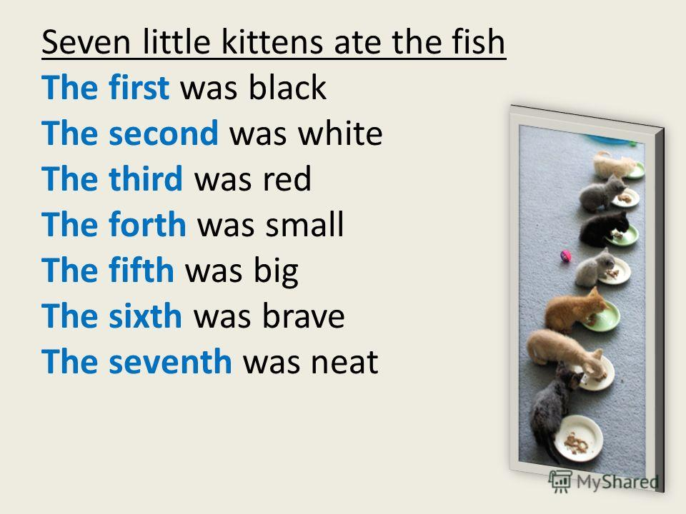 Seven little kittens ate the fish The first was black The second was white The third was red The forth was small The fifth was big The sixth was brave The seventh was neat