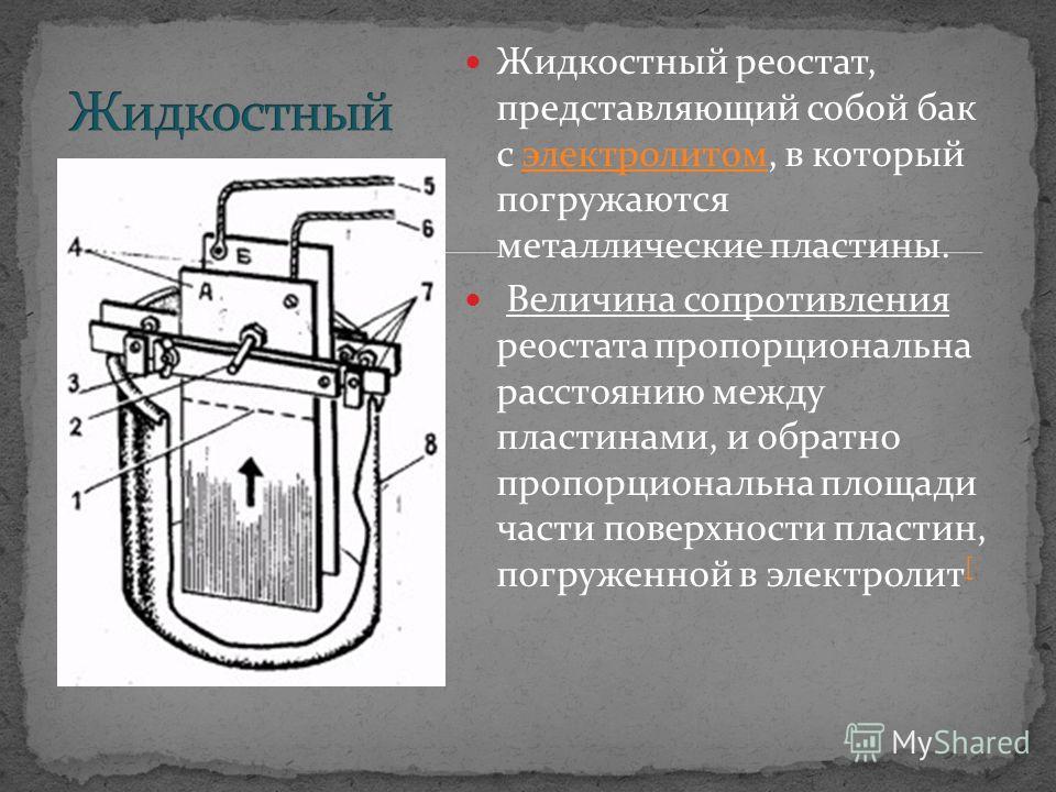 Жидкостный реостат, представляющий собой бак с электролитом, в который погружаются металлические пластины.электролитом Величина сопротивления реостата пропорциональна расстоянию между пластинами, и обратно пропорциональна площади части поверхности пл