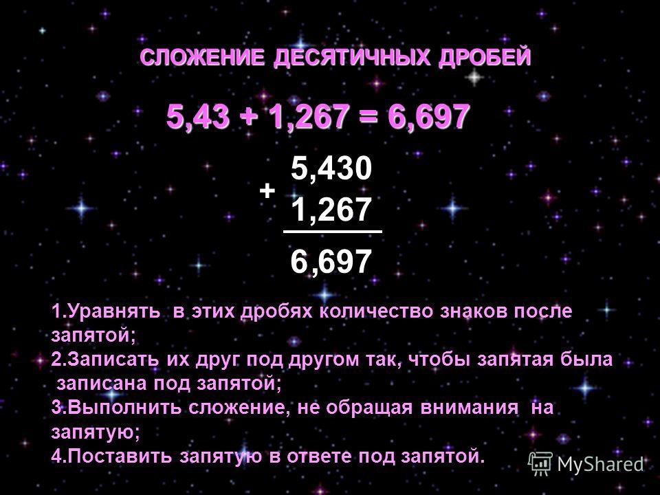 СЛОЖЕНИЕ ДЕСЯТИЧНЫХ ДРОБЕЙ 1,267 5,430 + 5,43 + 1,267 = 6,697 6 697 1.Уравнять в этих дробях количество знаков после запятой; 2.Записать их друг под другом так, чтобы запятая была записана под запятой; 3.Выполнить сложение, не обращая внимания на зап