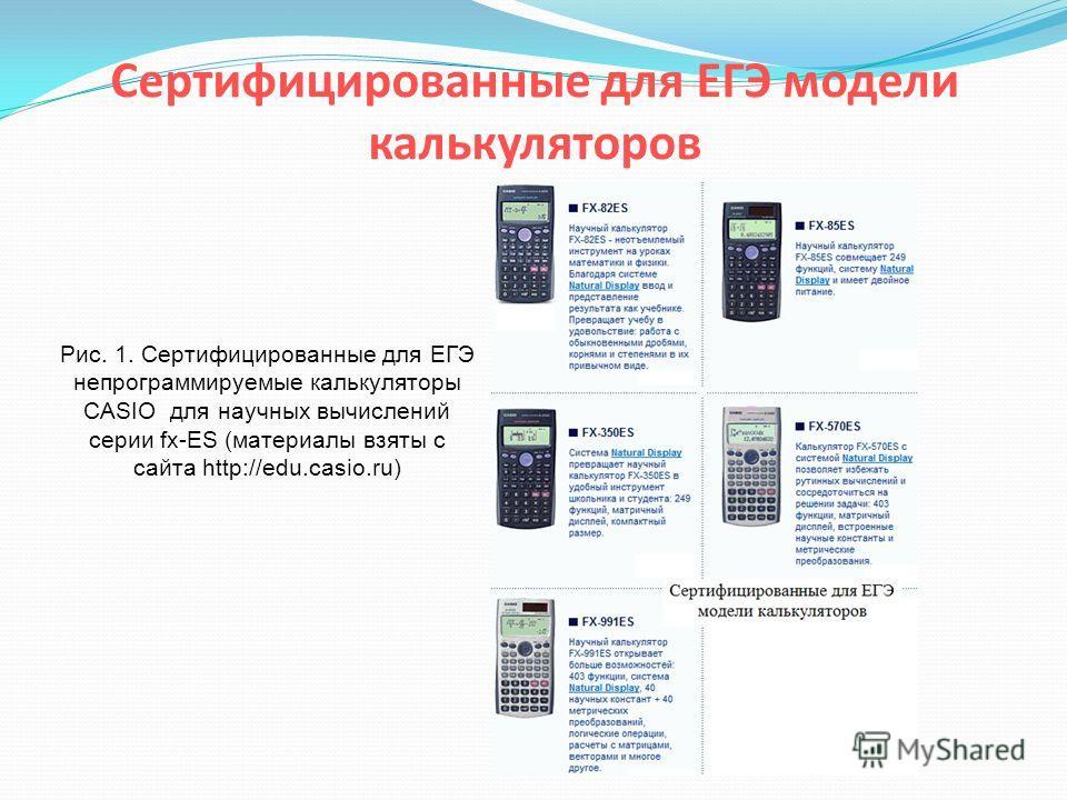 Сертифицированные для ЕГЭ модели калькуляторов Рис. 1. Сертифицированные для ЕГЭ непрограммируемые калькуляторы CASIO для научных вычислений серии fx-ES (материалы взяты с сайта http://edu.casio.ru)