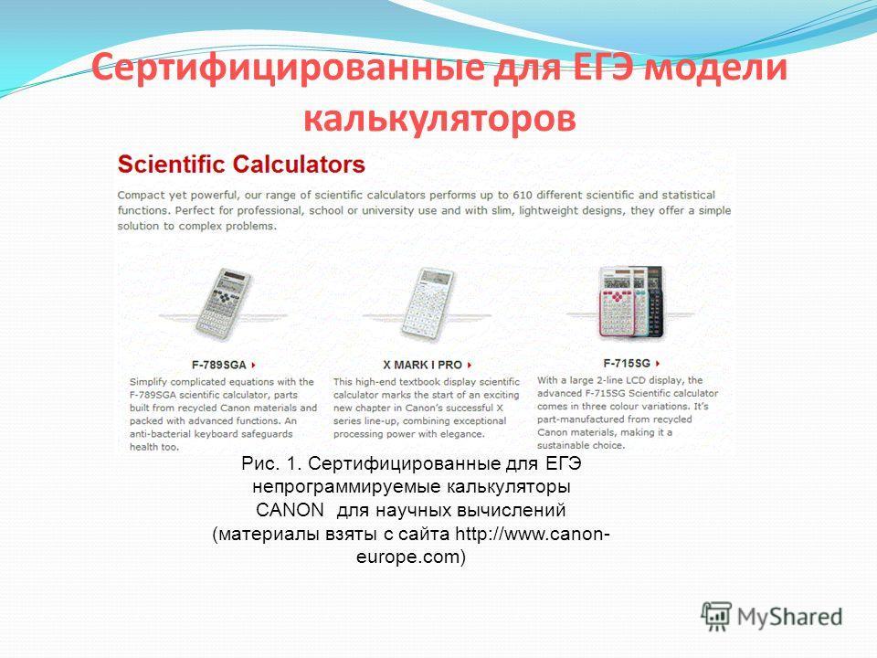 Сертифицированные для ЕГЭ модели калькуляторов Рис. 1. Сертифицированные для ЕГЭ непрограммируемые калькуляторы CANON для научных вычислений (материалы взяты с сайта http://www.canon- europe.com)
