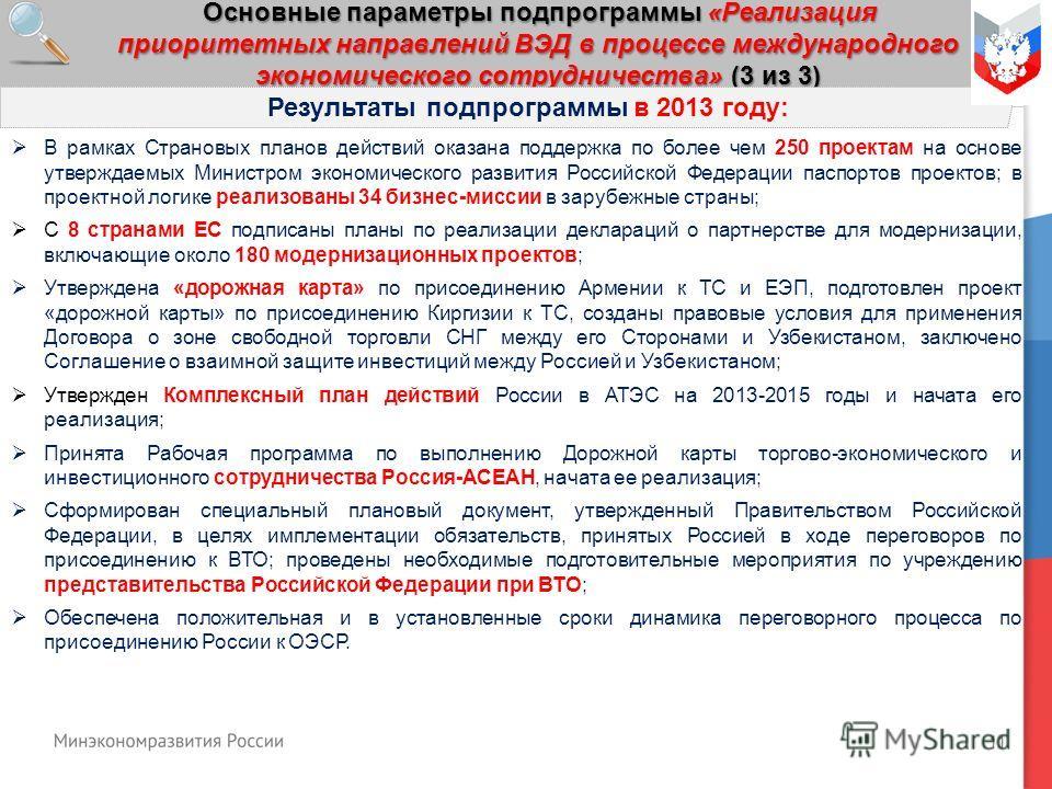 11 Основные параметры подпрограммы «Реализация приоритетных направлений ВЭД в процессе международного экономического сотрудничества» (3 из 3) Результаты подпрограммы в 2013 году: В рамках Страновых планов действий оказана поддержка по более чем 250 п
