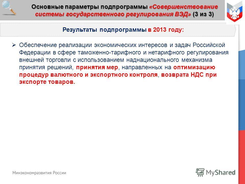 19 Основные параметры подпрограммы «Совершенствование системы государственного регулирования ВЭД» (3 из 3) Результаты подпрограммы в 2013 году: Обеспечение реализации экономических интересов и задач Российской Федерации в сфере таможенно-тарифного и