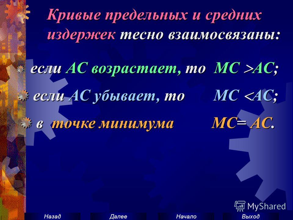 ВыходНачало ДалееНазад Кривые предельных и средних издержек тесно взаимосвязаны: если АС возрастает, то МС АС; если АС убывает, то МС АС; если АС убывает, то МС АС; в точке минимума MC= АС. в точке минимума MC= АС.