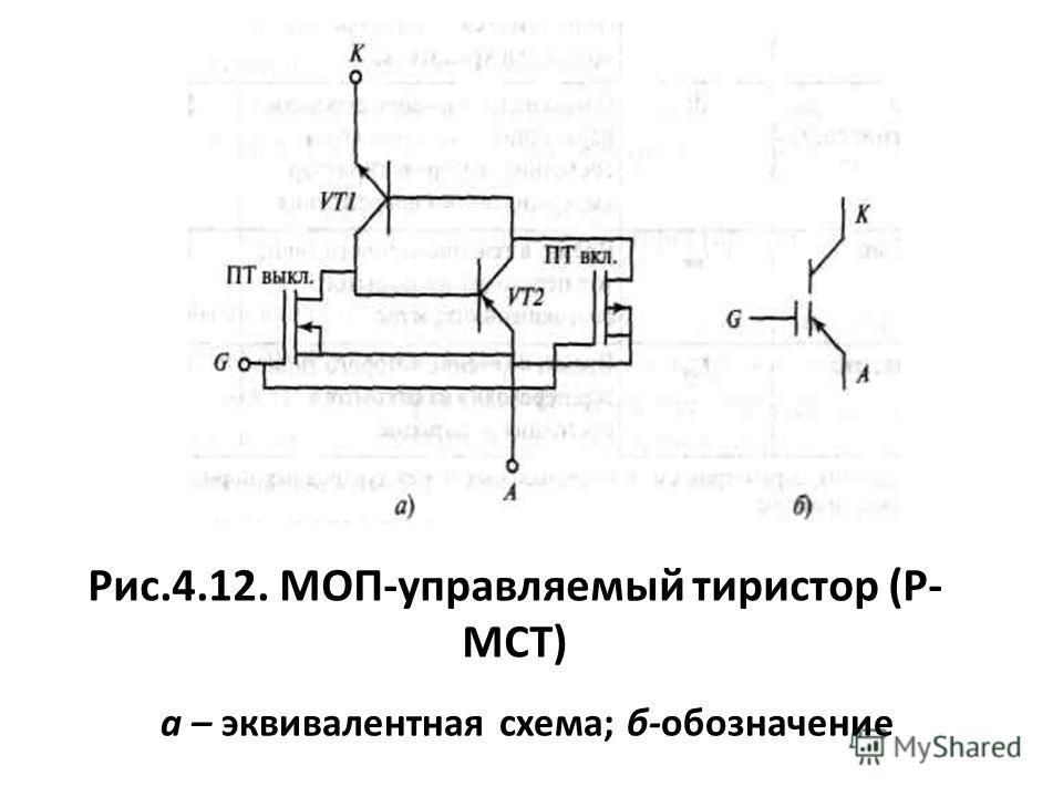 Рис.4.12. МОП-управляемый тиристор (Р- МСТ) а – эквивалентная схема; б-обозначение