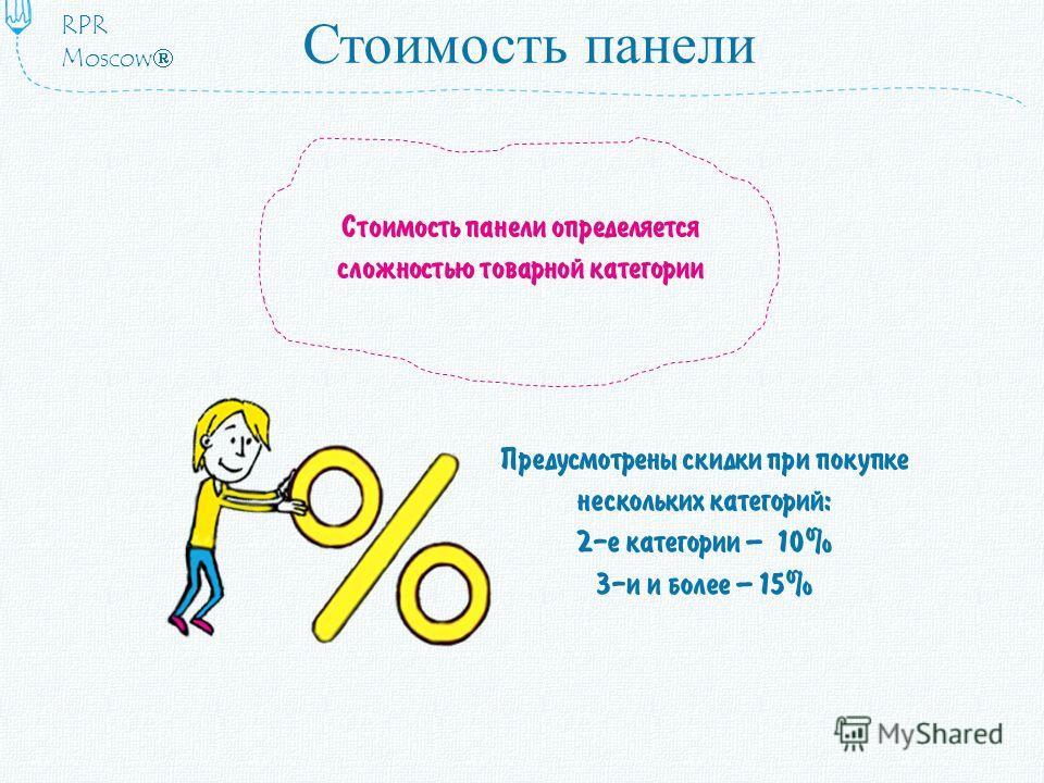 Стоимость панели Предусмотрены скидки при покупке нескольких категорий: 2-е категории – 10% 3-и и более – 15% Стоимость панели определяется сложностью товарной категории RPR Moscow