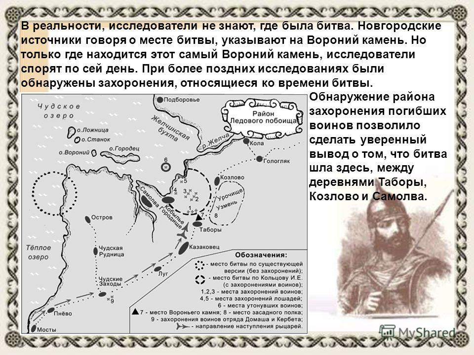 В реальности, исследователи не знают, где была битва. Новгородские источники говоря о месте битвы, указывают на Вороний камень. Но только где находится этот самый Вороний камень, исследователи спорят по сей день. При более поздних исследованиях были