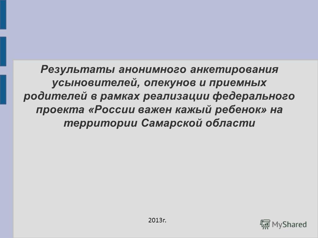 Результаты анонимного анкетирования усыновителей, опекунов и приемных родителей в рамках реализации федерального проекта «России важен кажый ребенок» на территории Самарской области 2013г.