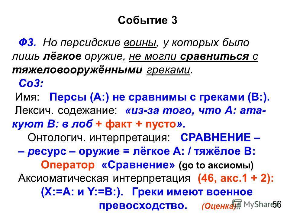 Событие 3 56 Ф3. Но персидские воины, у которых было лишь лёгкое оружие, не могли сравниться с тяжеловооружёнными греками. Со3: Имя: Персы (А:) не сравнимы с греками (В:). Лексич. содежание: «из-за того, что А: ата- куют В: в лоб + факт + пусто». Онт