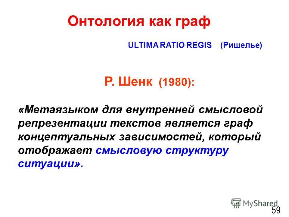 Онтология как граф 59 ULTIMA RATIO REGIS (Ришелье) Р. Шенк (1980): «Метаязыком для внутренней смысловой репрезентации текстов является граф концептуальных зависимостей, который отображает смысловую структуру ситуации».
