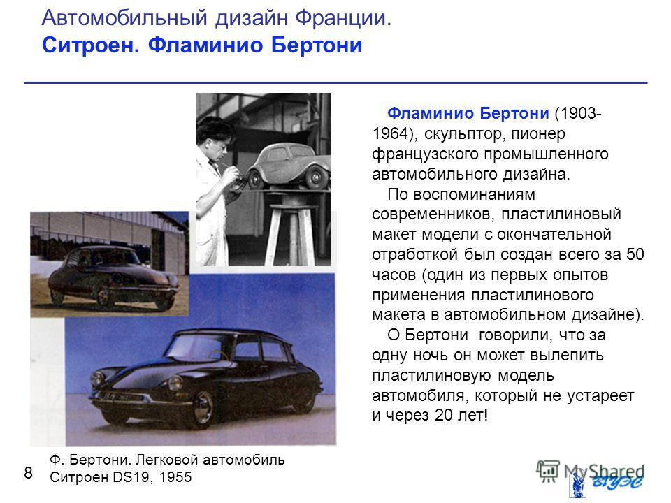 Фламинио Бертони (1903- 1964), скульптор, пионер французского промышленного автомобильного дизайна. По воспоминаниям современников, пластилиновый макет модели с окончательной отработкой был создан всего за 50 часов (один из первых опытов применения п