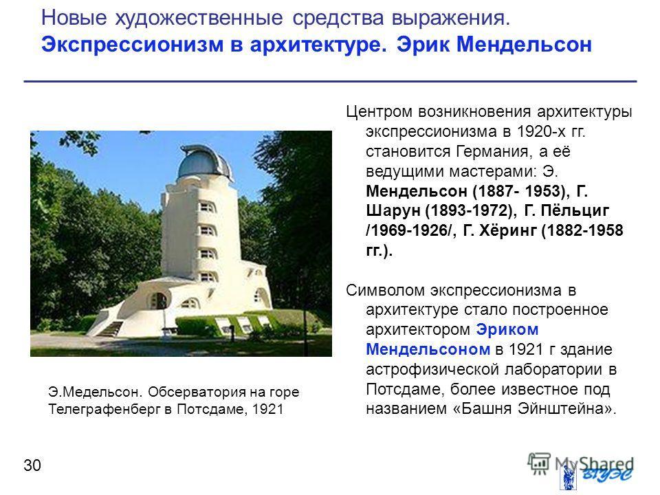 Центром возникновения архитектуры экспрессионизма в 1920-х гг. становится Германия, а её ведущими мастерами: Э. Мендельсон (1887- 1953), Г. Шарун (1893-1972), Г. Пёльциг /1969-1926/, Г. Хёринг (1882-1958 гг.). Символом экспрессионизма в архитектуре с