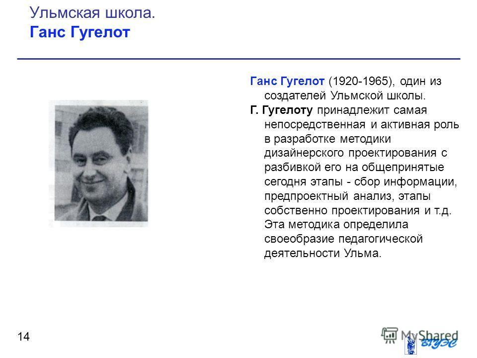 Ганс Гугелот (1920-1965), один из создателей Ульмской школы. Г. Гугелоту принадлежит самая непосредственная и активная роль в разработке методики дизайнерского проектирования с разбивкой его на общепринятые сегодня этапы - сбор информации, предпроект