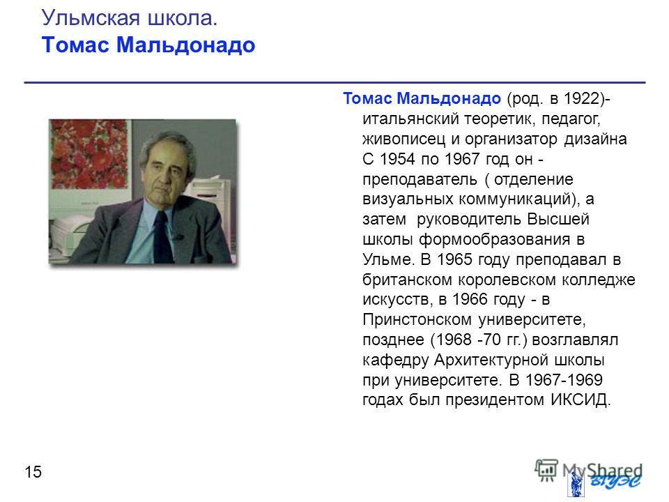 Томас Мальдонадо (род. в 1922)- итальянский теоретик, педагог, живописец и организатор дизайна С 1954 по 1967 год он - преподаватель ( отделение визуальных коммуникаций), а затем руководитель Высшей школы формообразования в Ульме. В 1965 году препода