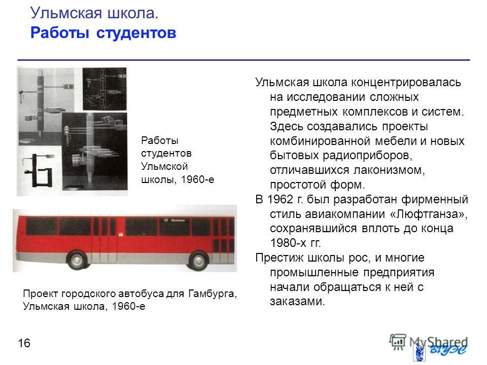 Ульмская школа концентрировалась на исследовании сложных предметных комплексов и систем. Здесь создавались проекты комбинированной мебели и новых бытовых радиоприборов, отличавшихся лаконизмом, простотой форм. В 1962 г. был разработан фирменный стиль
