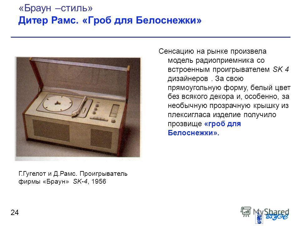 Сенсацию на рынке произвела модель радиоприемника со встроенным проигрывателем SK 4 дизайнеров. За свою прямоугольную форму, белый цвет без всякого декора и, особенно, за необычную прозрачную крышку из плексигласа изделие получило прозвище «гроб для