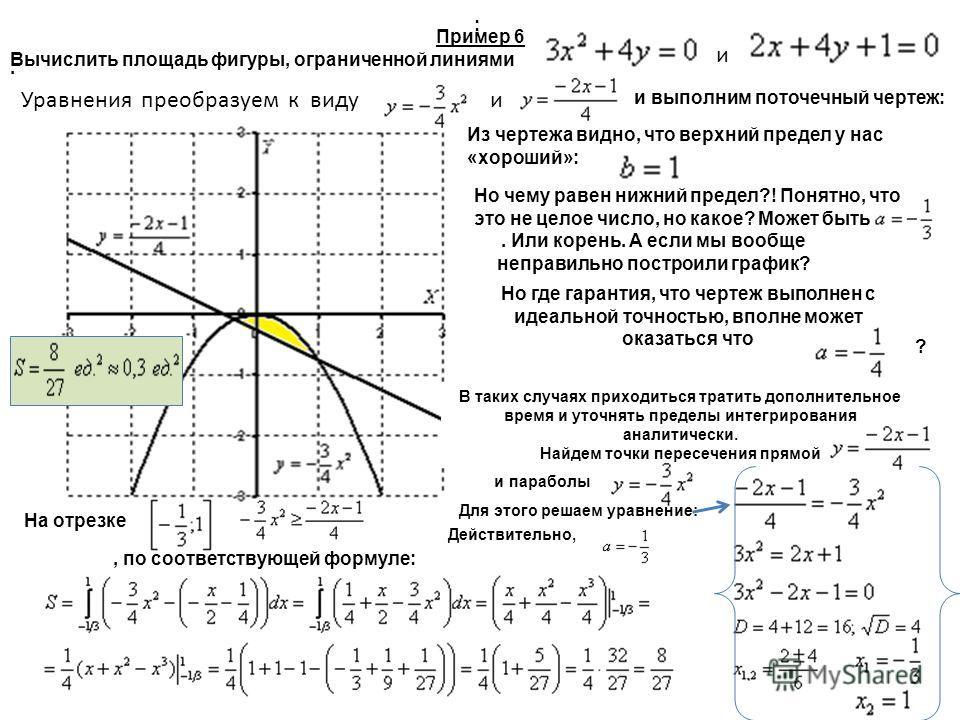 Пример 6 Вычислить площадь фигуры, ограниченной линиями и выполним поточечный чертеж: и Уравнения преобразуем к видуи Из чертежа видно, что верхний предел у нас «хороший»:. Но чему равен нижний предел?! Понятно, что это не целое число, но какое? Може