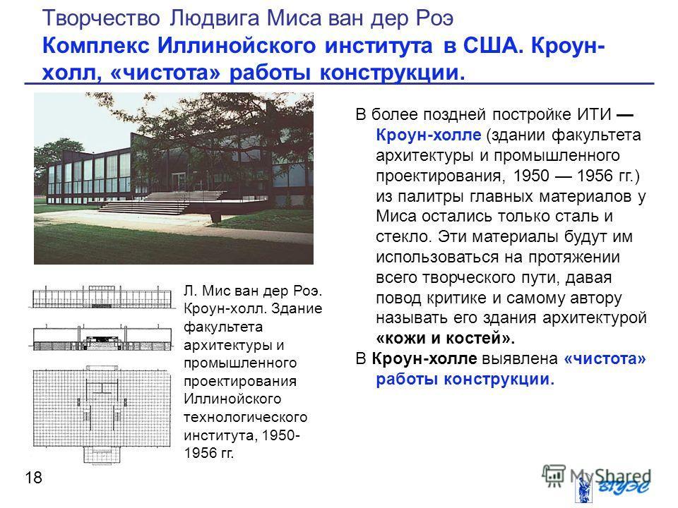 В более поздней постройке ИТИ Кроун-холле (здании факультета архитектуры и промышленного проектирования, 1950 1956 гг.) из палитры главных материалов у Миса остались только сталь и стекло. Эти материалы будут им использоваться на протяжении всего тво