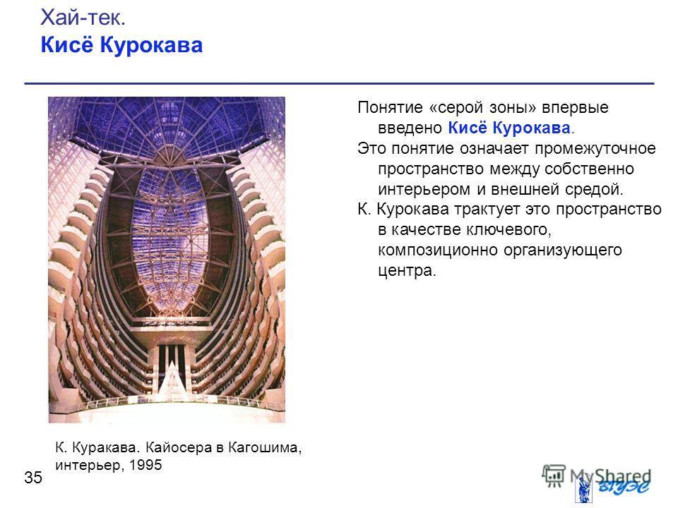 Понятие «серой зоны» впервые введено Кисё Курокава. Это понятие означает промежуточное пространство между собственно интерьером и внешней средой. К. Курокава трактует это пространство в качестве ключевого, композиционно организующего центра. 35 Хай-т
