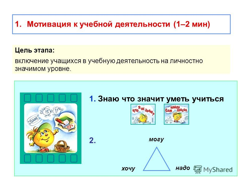 1.Мотивация к учебной деятельности (1–2 мин) Цель этапа: включение учащихся в учебную деятельность на личностно значимом уровне. 1. Знаю что значит уметь учиться хочу могу надо 2.