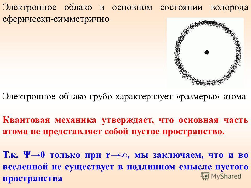 Электронное облако в основном состоянии водорода сферически-симметрично Электронное облако грубо характеризует «размеры» атома Квантовая механика утверждает, что основная часть атома не представляет собой пустое пространство. Т.к. Ψ0 только при r, мы