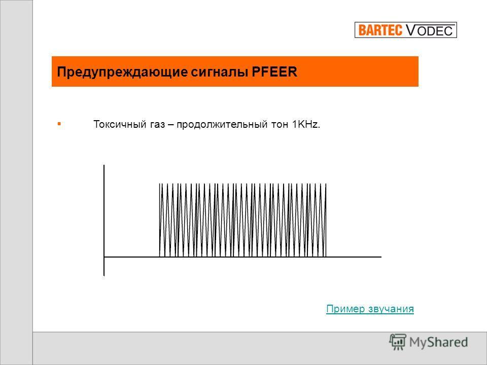 Предупреждающие сигналы PFEER GA – прерывистый – одна секунда - есть, одна секунда – нет сигнала 1KHz. Пример звучания
