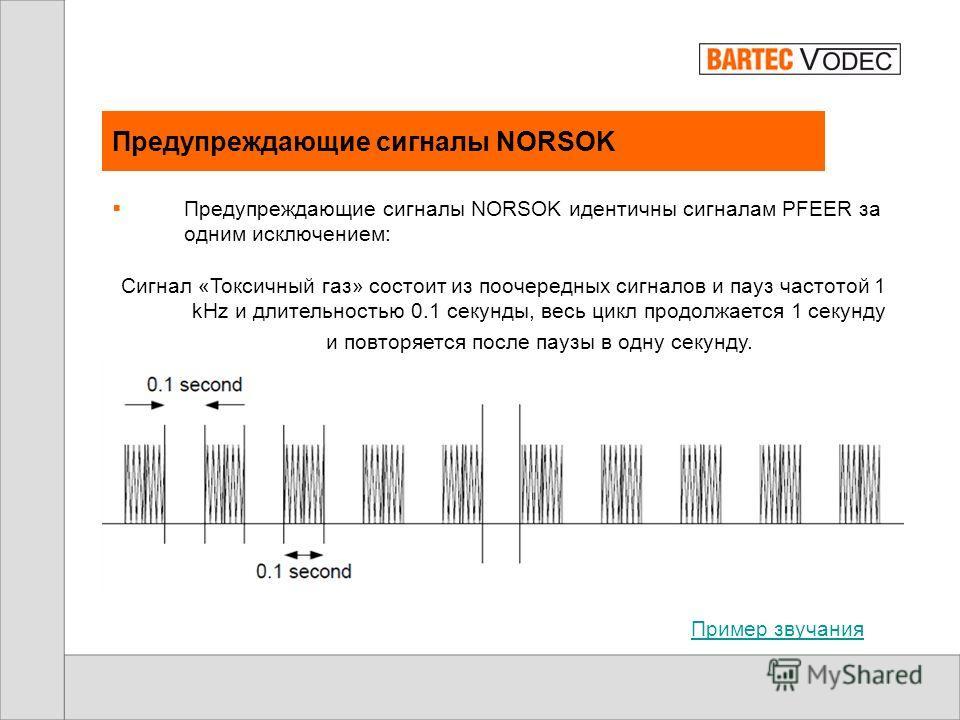 Предупреждающие сигналы PFEER Токсичный газ – продолжительный тон 1KHz. Пример звучания