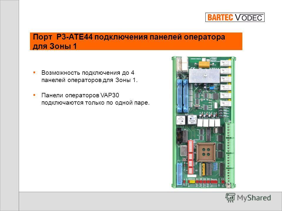 Порт расширения P3-ATE4 – подключение до 16 панелей оператора VAP30 К центральному процессорному модулю P3- VX/AT может быть подключено две панели оператора VAP30 Порт P3-ATE4 расширяет возможность подключения При помощи 4 портов P3-ATE4 возможно под