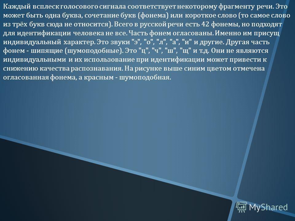 Каждый всплеск голосового сигнала соответствует некоторому фрагменту речи. Это может быть одна буква, сочетание букв ( фонема ) или короткое слово ( то самое слово из трёх букв сюда не относится ). Всего в русской речи есть 42 фонемы, но подходят для