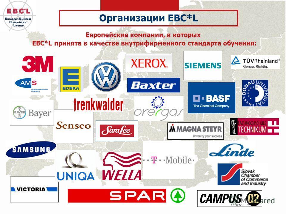 Европейские компании, в которых EBC*L принята в качестве внутрифирменного стандарта обучения: Организации EBC*L