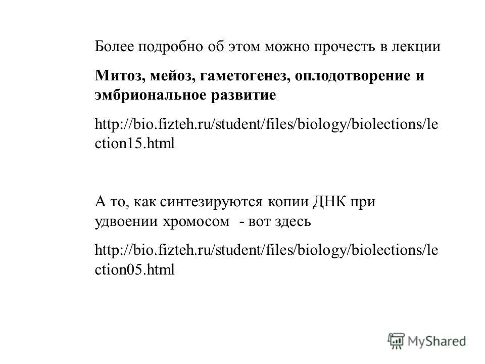 Более подробно об этом можно прочесть в лекции Митоз, мейоз, гаметогенез, оплодотворение и эмбриональное развитие http://bio.fizteh.ru/student/files/biology/biolections/le ction15.html А то, как синтезируются копии ДНК при удвоении хромосом - вот зде