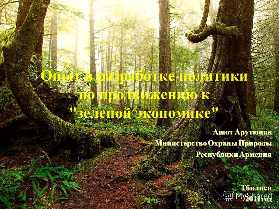 Опыт в разработке политики по продвижению к зеленой экономике Ашот Арутюнян Министерство Охраны Природы Республики Армения Тбилиси2011год